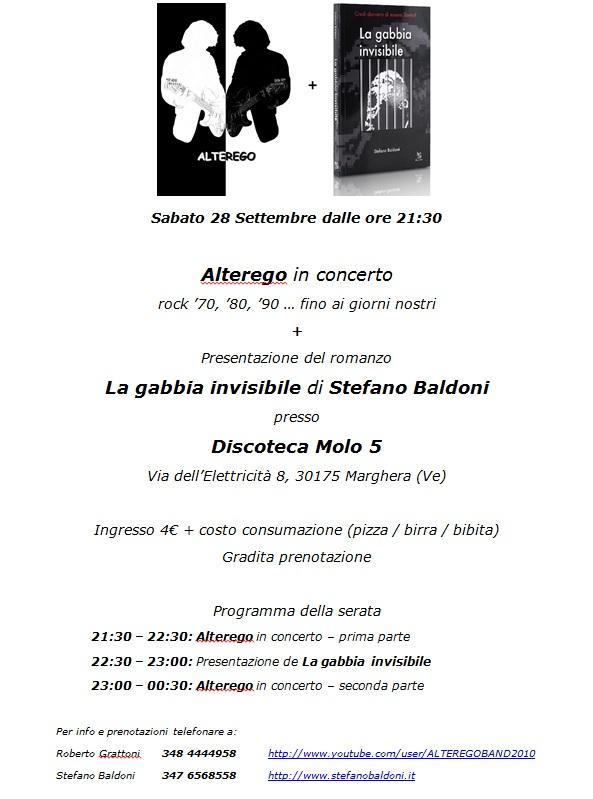 Alterego + La gabbia invisibile - Sabato 28 Settembre - Molo 5